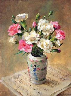 Carnations with Music | Mill House Fine Art – Publishers of Anne Cotterill Flower Art