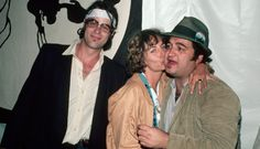 Dan Aykroyd, Penny Marshall and John Belushi attend the premiere of The Blues Brothers.