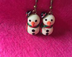 Christmas earrings   Snowman earrings   Christmas party earrings   Christmas drops   Glowing Snowman   polymer clay Earrings   Xmas gifts
