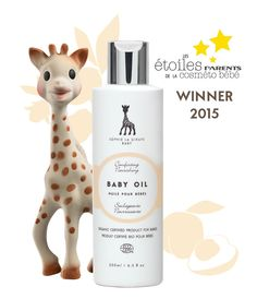 Vive le France! Sophie la girafe Baby Oil, winner of Les Etoiles Parents de la Cosméto Bébé 2015 , category selective baby oils. http://www.parents.fr/Puericulture/Sa-premiere-annee/Les-Etoiles-Parents-de-la-Cosmeto-Bebe-le-palmares-2015