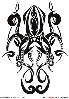 Tribal octopus tattoo design