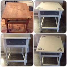 DIY end table, nightstand, chalk paint, stencils, distressed furniture.