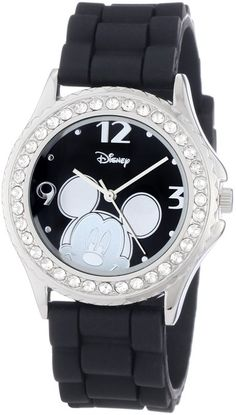 Disney Women's MK1094 Rhinestone Accent Mickey Mouse Black Rubber Strap Watch