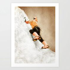 Buy mountaineer climbing sport art #mountaineer #climbing #sport Art Print by jbjart. Worldwide shipping available at Society6.com. Just one of millions of high quality products available. Sports Art, Meet The Artist, Buy Frames, Printing Process, Climbing, Gallery Wall, Art Prints, Artwork, Products