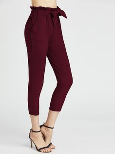 Shop Ruffle Waist Self Tie Capri Pants online. SheIn offers Ruffle Waist Self Tie Capri Pants & more to fit your fashionable needs.