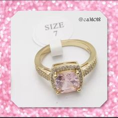 New Pink Topaz & CZ Yellow GF Cocktail Ring 7 New White Topaz & Pink CZ Stone Stunning Cocktail Ring Size: 7 Yellow gold filled Fashion Jewelry Very high quality stones THIS IS THE ONLY SIZE I HAVE AVAIL IN THIS RING SO PLEASE DON'T HESITATE IF YOU ARE INTERESTED OR IT SILL BE GONE WITHOUT THE POSSIBILITY OF ORDERINGPRICE FIRM UNLESS BUNDLED Glam Squad 2 You Jewelry Rings