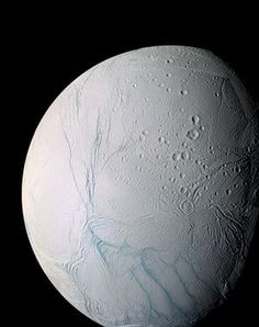 9 March 2005 and 14 July 2005A masterpiece of deep time and wrenching gravity – the tortured surface of Saturn's moon Enceladus and its fascinating ongoing geologic activity tell the story of the ancient and present struggles of one tiny world. This enhanced colour mosaic is largely of the southern hemisphere. Ancient craters remain somewhat pristine in some locales, but have relaxed in others. The south polar terrain is marked by a striking set of 'blue' fractures and encircled by a…