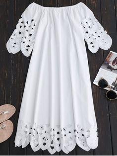 $18.49 Off The Shoulder Flared Dress - WHITE S