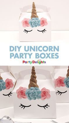 If you're planning a unicorn birthday party, these unicorn party boxes are the perfect way to serve your food! Simply stick our free unicorn printables onto a plain white party box and fill it with treats!