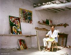 Jorn working in his house in Albissola, 1961.