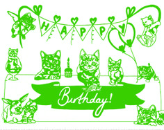 Birthday Cats Paper Cutting -Hetty and Baar