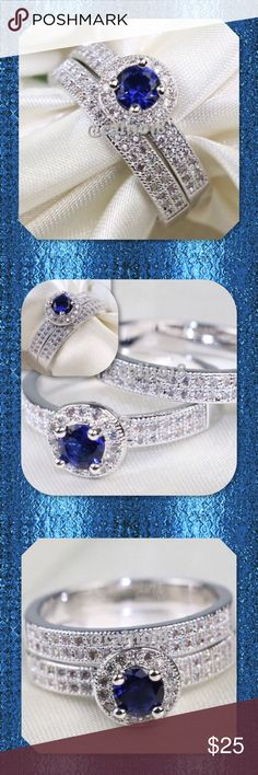 💠CLEARANCE 2pc Blue Sapphire White GF Ring PRICE FIRM Material: White Gold Filled Style: 2pc Wedding Ring Set Size: 8 Main stone: CZ Color: White & Blue Quantity: 1 Set High quality in EU and US quality standard Glam Squad 2 You Jewelry Rings