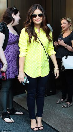 Petite Celeb Lucy Hale switched to this lemon yellow shirt with white polka-dots
