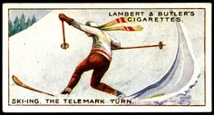 """No.10 Ski-ing, the Telemark Turn - Cigarette Card - Lambert & Butler's Cigarettes, """"Winter Sports"""" (series of 25 issued in 1914) Flickr Photo Sharing."""