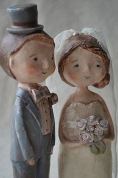 Folk Art Paperclay Wedding Cake Topper Keepsake by apinchofprim