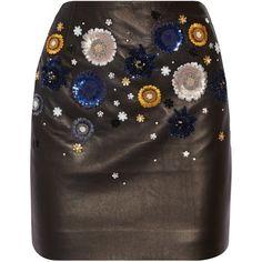 Topshop Unique Linard embellished leather mini skirt ($845) ❤ liked on Polyvore featuring skirts, mini skirts, bottoms, black, short skirts, leather miniskirt, mini skirt, short mini skirts and sequin embellished mini skirt