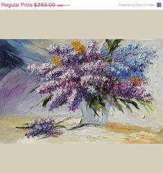 FLASH SALE ORIGINAL Painting Oil Palette Knife Colorful Flowers Vase Purple Romantic Lilac  Blue Texture Impressionism Home decor wall Art b