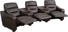 Futura Series 3-Seat Reclining Brown Leather Theater Seating Unit with Cup Holders. Complete your theater room with this comfortable theater style seating. Reclining furniture offers the best in relaxation for you to kick up your feet to watch TV, work on a laptop, or to just hang out with family and friends. This theater set features a plush back, two cup holder wedges with a deep storage compartment and naturally slanted armrests. The middle seat reclines with a quick pull on the handle…