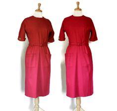 Vintage 50s Red Wool Dress