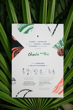 Love this unusual tropical inspired wedding invitation.