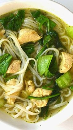 Easy Asian noodle soup w/ bok choy & tangles of noodles. Use chicken, shrimp or tofu. Ready in under 30 min. Flavorful!