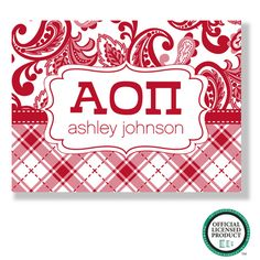 Alpha Omicron Pi Prep Note Cards, the perfect stationary.