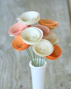 12 Sherbet Peaches and Cream Paper Flowers, Orange Bouquet of Flowers, Tangerine Tango. $24.00, via Etsy.