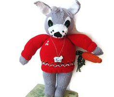 Stuffed Bunny Rabbit Knitted  with Detachable Carrot by Meoneil