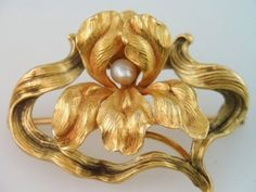N E Whiteside Art Nouveau 14k Gold Orchid Flower Pin w Seed Pearl Stunning.  1880s Designer Signed  With the Famous Antique N.E. WHITESIDE Co. Mark.