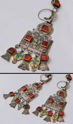 Morocco | Pair of earrings; silver, niello, enamel and glass cabochons | Ida Ou Nadif. Anti Atlas region | 450€ ~ sold (June '10)