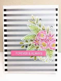 The June 2017 Simon Says Stamp card kit is so pretty! Here's the first card I made with it – I just love combining a floral and graphic print. I heat embossed the floral image from the… Wedding Anniversary Cards, Wedding Cards, Card Making Inspiration, Making Ideas, Card Sentiments, Cute Cards, Pretty Cards, Birthday Cards, Birthday Images