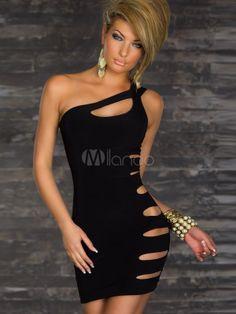 42e342429d Black Cut Out One-Shoulder Polyester Woman s Club Dress Mini Dresses