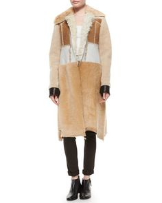 Paneled Shearling Fur Long Coat by Calvin Klein Collection at Bergdorf Goodman.