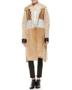 Paneled Shearling Fur Long Coat by Calvin Klein Collection at Bergdorf Goodman.