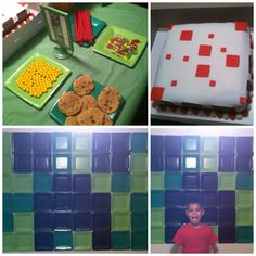 Minecraft party ideas: cake, sweets and wall decor