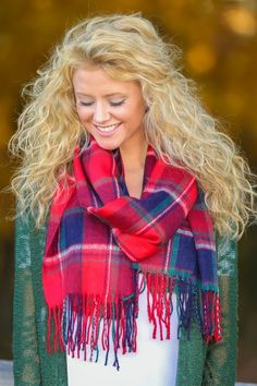 Plaid scarf with fringe detail! Obsessed! Perfect for the holidays! Love, love, love!
