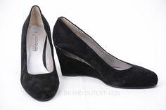 Aquatalia Yana 8 black suede Croc Trim Wedge Heel Pump Shoe ITALY $398 IGP844 #Aquatalia #PlatformsWedges