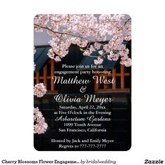 Cherry Blossoms Flower Engagement Party Invitation