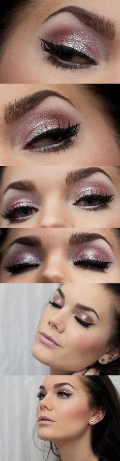 Half naked pink look by Linda Hallberg. Pink, glitter, eyeshadow, vinged eyeliner.