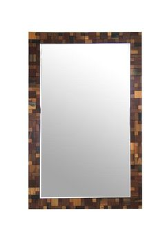 """Modrest Pixel Modern Rectangular Wall Mirror. The Modrest Pixel modern rectangular wall mirror is bordered in a stunning wood frame with square patterns in black and various shades of brown. This modern wall mirror measures W47"""" x D1"""" x H30"""" and will fit in any room Dimensions  W47"""" x D1"""" x H30""""  Color:  Other Finish:   Product ID(s):  17516"""