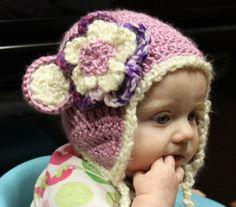 Purple Bear Hat with flower  from www.pocketfulofposies.org    $17