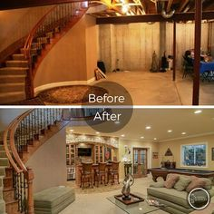 Check out this before and after picture of a basement we finished in…