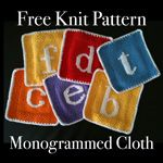 Free Monogrammed Knit Cloth Pattern – Wistful Wrists - includes template for duplicate stitch letters