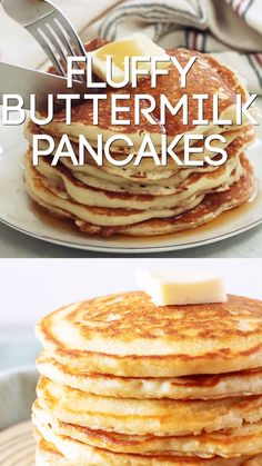 Easy Buttermilk Pancakes make a tasty breakfast any day of the week. These homem… Easy Buttermilk Pancakes make a tasty breakfast any day of the week. These homemade buttermilk pancakes made from scratch are the BEST! Homemade Buttermilk Pancakes, American Pancakes Buttermilk, Butter Milk Pancakes Recipe, Recipes With Buttermilk, Buttermilk Syrup, Sourdough Pancakes, Pancakes And Waffles, Fluffy Pancakes, Pancakes From Scatch