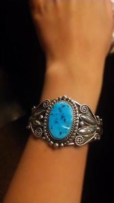Hand Crafted Sterling Silver Turquoise Navajo Cuff Bracelet! www.silvertribe.com
