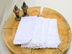 vintage napkins.four.cotton.crocheted edging.17 x by tessiemay, $16.00