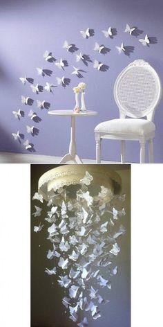 Zelf de vlinders maken,en je kan er mee doen wat je wilt!Een groot hart beplakker met vlinders ook leuk!