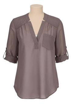 3/4 sleeve chiffon blouse with pocket Maurice's in sparrow