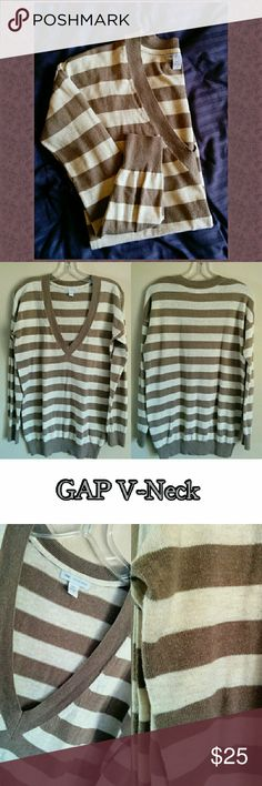 Taupe Gap Cashmere V-Neck Striped Sweater sz S Gorgeous cream and grey/brown/taupe bold striped oversized pullover sweater with v neck. Long sleeves, ribbed detail at cuffs and neckline. Very minimal pilling, only worn twice. Beautiful knit cotton/nylon/cashmere blend for extra soft feel! Can also fit a medium! GAP Sweaters V-Necks