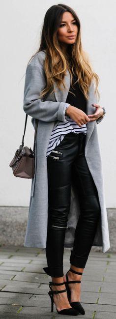 Grey Coat + Leather Pants